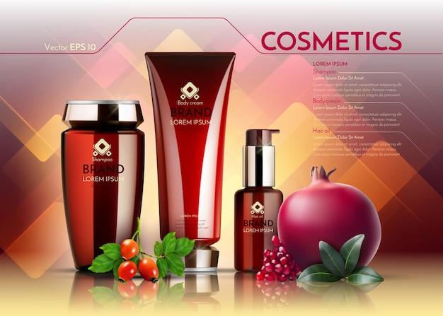 Modelo de anúncios de pacote realista de cosméticos