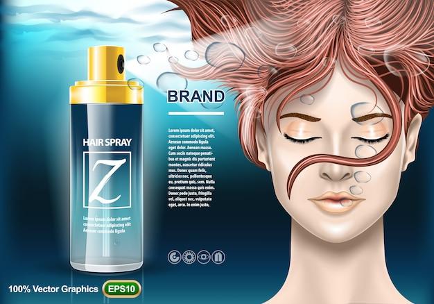 Modelo de anúncios de proteção de spray de cabelo