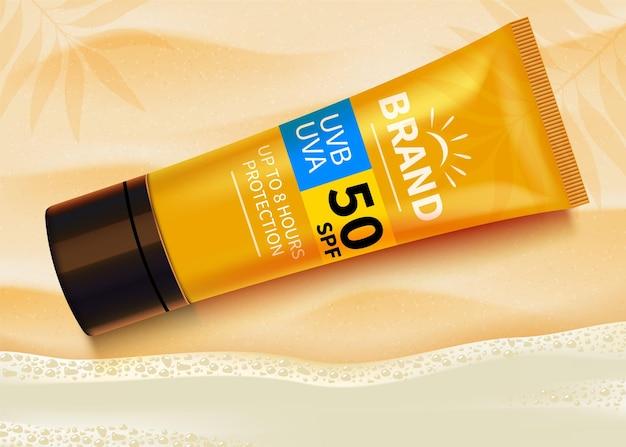 Modelo de anúncios de protetor solar, design de produtos cosméticos de proteção solar com creme hidratante ou líquido.