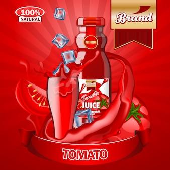 Modelo de anúncios de suco de tomate.