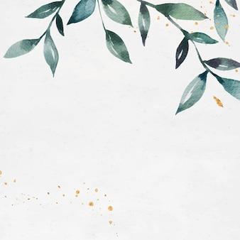 Modelo de anúncios sociais com moldura de folhas em branco