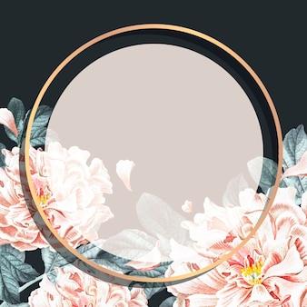 Modelo de anúncios sociais com moldura de peônia floral redonda