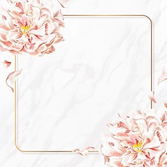 Modelo de anúncios sociais com moldura dourada de peônia floral