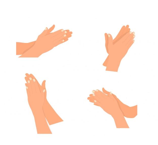 Modelo de aplauso de mão aplaudindo. ilustração