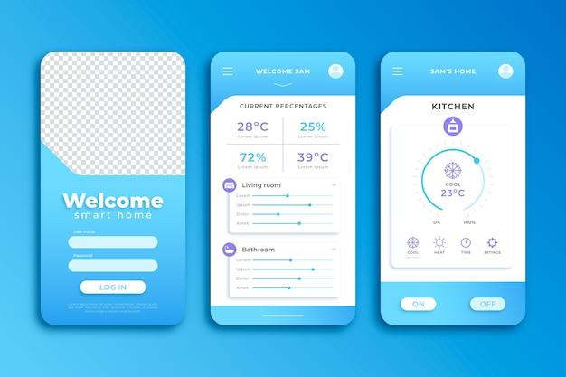 Modelo de aplicativo azul smartphone em casa inteligente