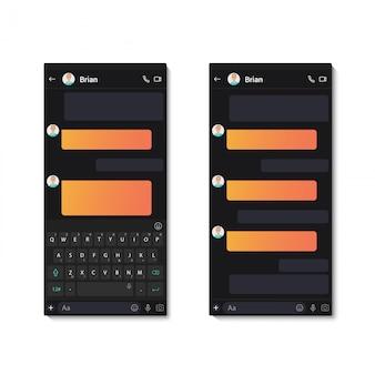 Modelo de aplicativo de bate-papo escuro com teclado móvel e bolhas de bate-papo de texto. ilustração de mensagem de rede social.
