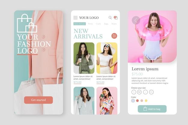 Modelo de aplicativo de compras de moda com fotos
