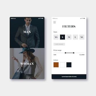 Modelo de aplicativo de compras de moda