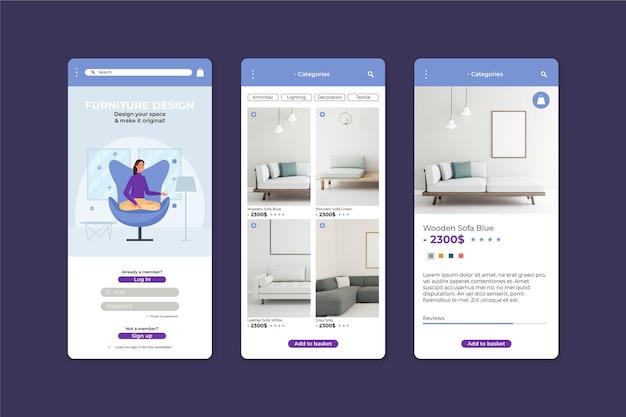 Modelo de aplicativo de compras de móveis