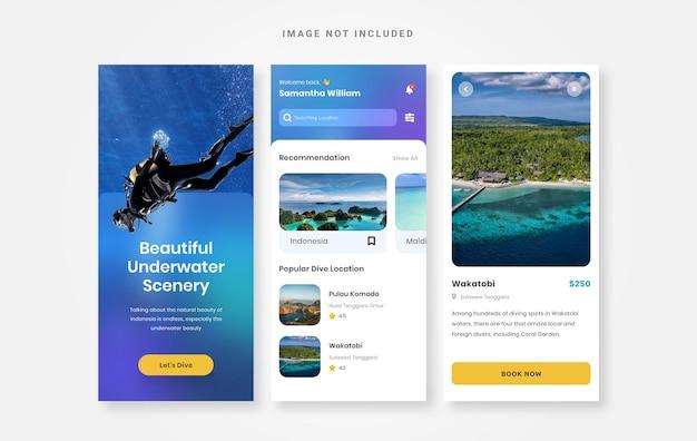 Modelo de aplicativo de livro de mergulho de design de interface do usuário