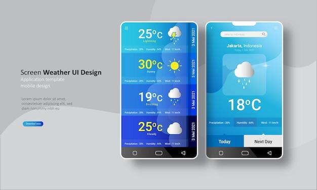 Modelo de aplicativo de previsão do tempo para celular