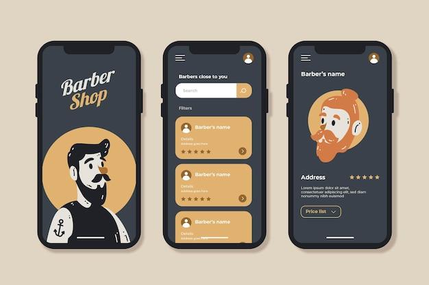 Modelo de aplicativo de reserva de barbearia