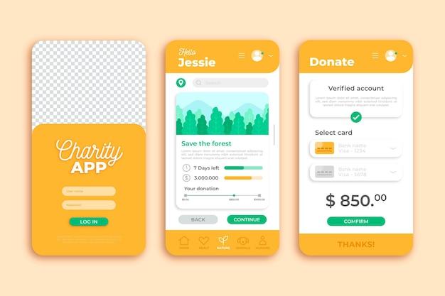 Modelo de aplicativo de smartphone de caridade laranja