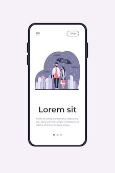 Modelo de aplicativo móvel de ilustração vetorial jovem casal na chuva
