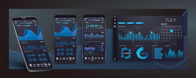 Modelo de aplicativo móvel infográfico com gráficos de estatísticas semanais e anuais de design moderno. gráficos circulares, fluxo de trabalho, web design