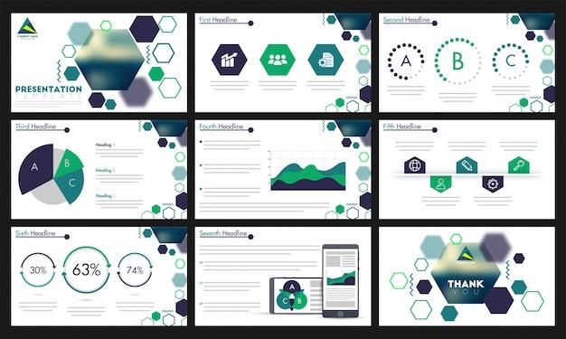 Modelo de apresentação com elementos infográficos verdes.
