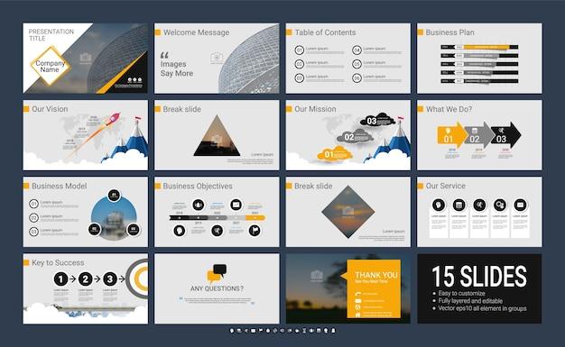 Modelo de apresentação com elementos infográficos