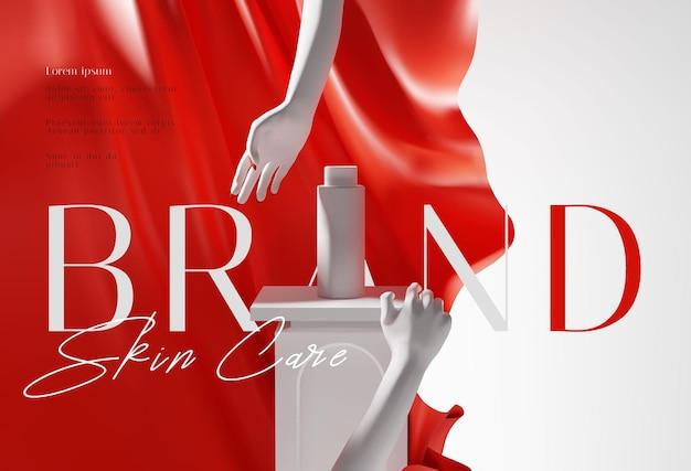 Modelo de apresentação de anúncios de produtos cosméticos em vermelho e branco elegante