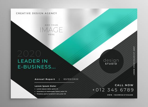 Modelo de apresentação de brochura de negócios geométricos turquesa