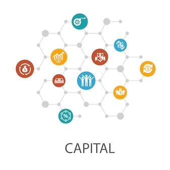 Modelo de apresentação de capital, layout de capa e infográficos. dividendos, dinheiro, investimento, ícones de sucesso