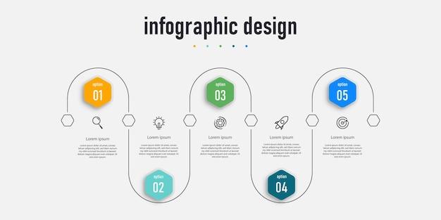 Modelo de apresentação de design de infográfico de elemento com 5 opções