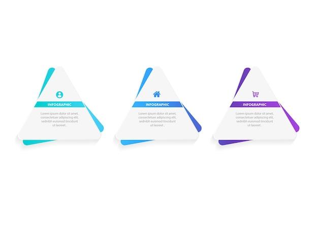 Modelo de apresentação de design de triângulo de infográfico de negócios com 3 opções