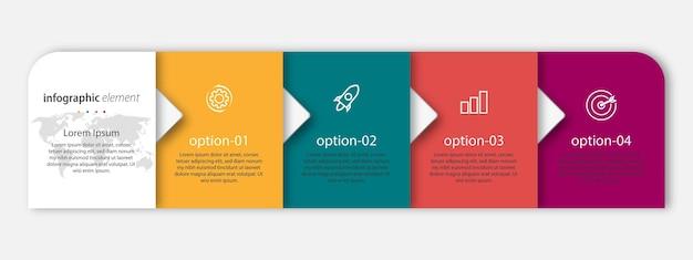 Modelo de apresentação de design infográfico com quatro opções
