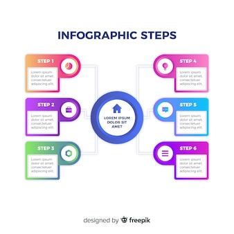 Modelo de apresentação de etapas infográfico gradiente