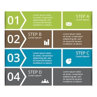 Modelo de apresentação de infográfico de vetores de setas diagrama de 4 etapas partes