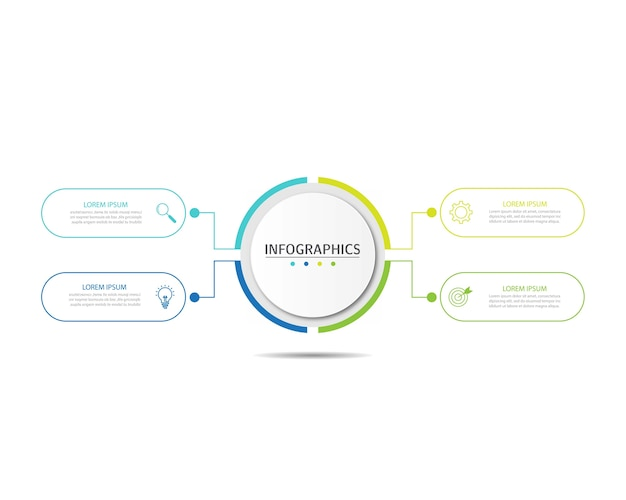 Modelo de apresentação de infográficos de negócios com 4 opções