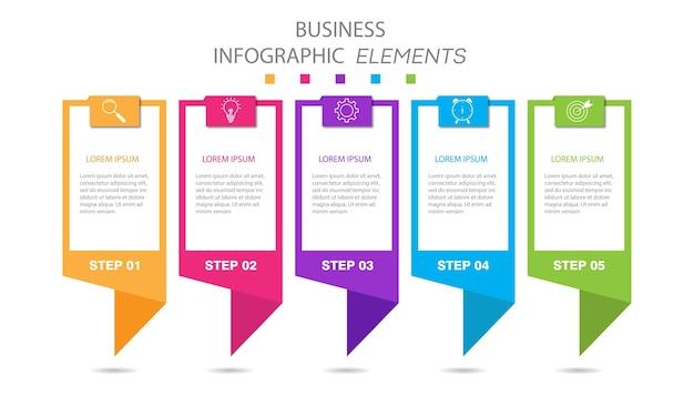 Modelo de apresentação de infográficos de negócios com 5 opções