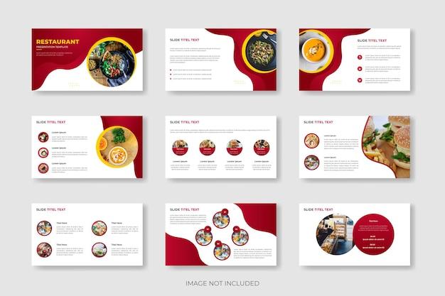 Modelo de apresentação de menu de comida de restaurante ou design de modelo de slide de menu de comida