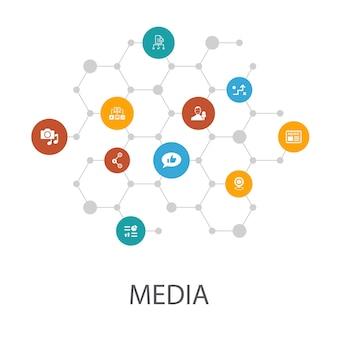 Modelo de apresentação de mídia, layout de capa e infográficos. notícias, repórter, infográficos, ícones de plano de mídia