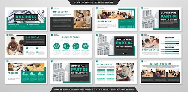 Modelo de apresentação de negócios com conceito clean e estilo minimalista para relatório anual e perfil de negócios