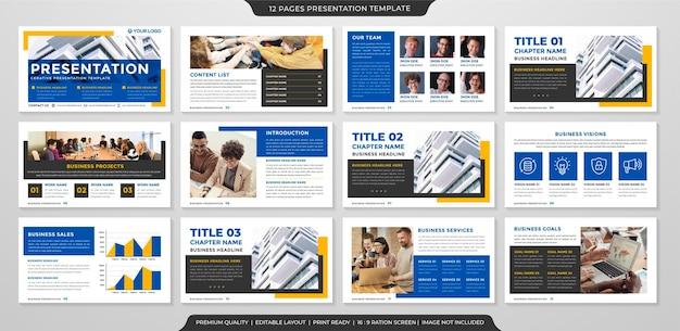 Modelo de apresentação de negócios com estilo minimalista e moderno
