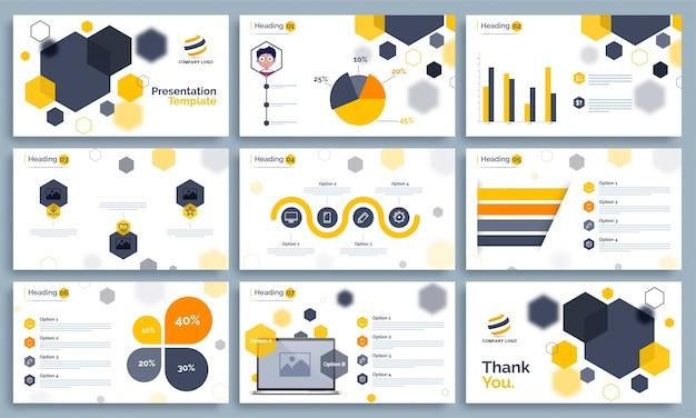 Modelo de apresentação de negócios com infografia.