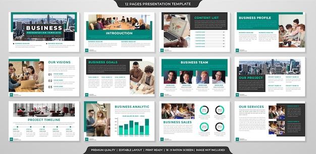 Modelo de apresentação de negócios com layout moderno e estilo clean