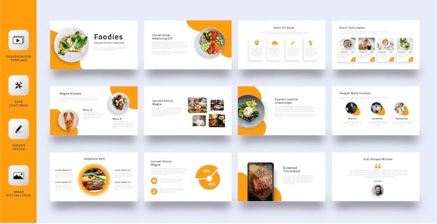 Modelo de apresentação de negócios de foodies