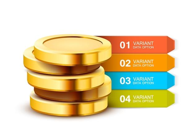 Modelo de apresentação de negócios. infografia de dinheiro.