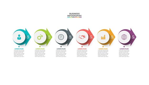 Modelo de apresentação de negócios infográfico com 6 opções