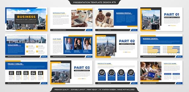 Modelo de apresentação de negócios limpo estilo premium