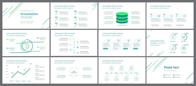 Modelo de apresentação de negócios minimalista verde