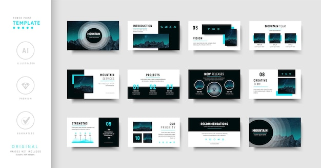 Modelo de apresentação de negócios roxo e azul de estilo moderno
