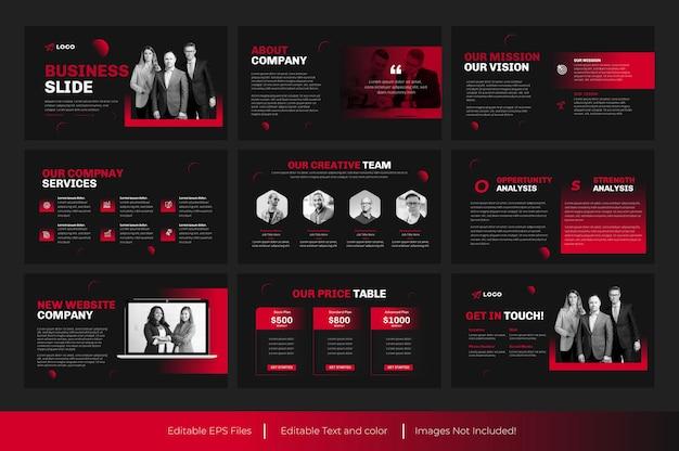 Modelo de apresentação de powerpoint de negócios e design de modelo de apresentação de negócios em vermelho