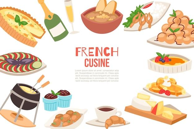 Modelo de apresentação de queijo francês, sopa de cebola, trufas, croissants