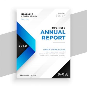 Modelo de apresentação de relatório anual geométrico azul