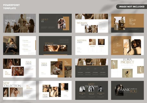 Modelo de apresentação de slides de moda mínima Vetor Premium