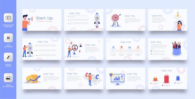 Modelo de apresentação de slides de negócios com ilustração plana