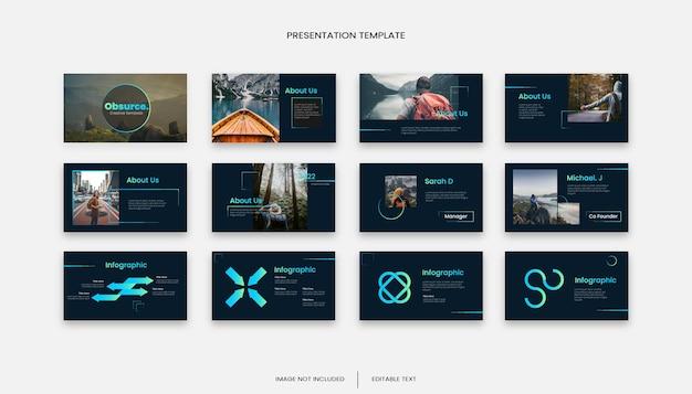Modelo de apresentação de slides de negócios de gradiente criativo multiuso