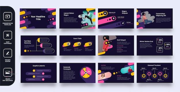 Modelo de apresentação de slides de negócios multiuso 12 páginas